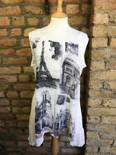 Per Una M&S UK 18 Sheer White Summer Tank Top with Parisi Eiffel Graphic Detail