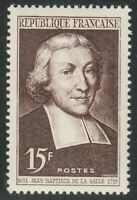 France 1951 MNH Mi 900 Sc 646 Jean-Baptiste de la Salle,educator & saint **