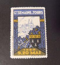 """Francia , France Cinderella Maggio 1929 """" Semaine de Tours"""" 1 Vignette MNH**"""
