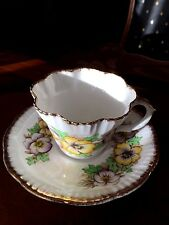 Vintage SALISBURY Bone China Hans painted Pansy Pattern Cup & Saucer, England