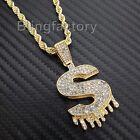 Hip Hop Iced Lab Diamond $ Symbol Drip Pendant & 4mm 24
