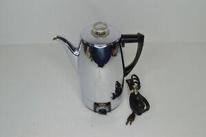 "Vintage Sunbeam Coffee Percolator Model AP10A MCM 9.75"" H Coffee Pot Electric"