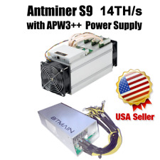 BITMAIN S9 ASIC Antminer Bitcoin Miner 14 TH/s With APW3++ PSU included IN HAND