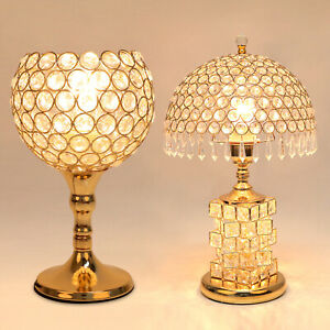 Crystal Chandelier Bedside Table Lamp Dimmable Decor f/ Bedroom Nightstand Light