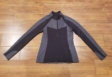 ATHLETA Spotlight Half Zip Stretch Striped Athletic Jacket Top WOMENS SZ M Black
