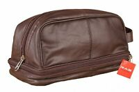 RAS Men's Real Leather Travel Overnight Wash Gym Toiletry Shaving Bag 3530 Brown