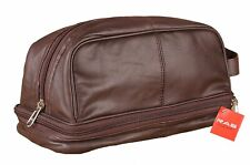 MEN WOMEN SOFT BROWN LARGE LEATHER TOILETRY WASH BAG TRAVEL KIT OVERNIGHT 3530