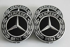 Original Mercedes Hub Caps Hubcap Caps AMG Laurel Wreath Black Set