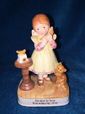 "VINTAGE HOLLY HOBBIE FIGURINE GIRL PHONE ""NICE TO HEAR FROM SOMEONE DEAR"" JAPAN"