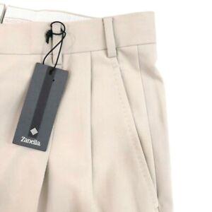 $325 NWT Zanella Mens Dress Pants Size 34 Beige Pleated wool