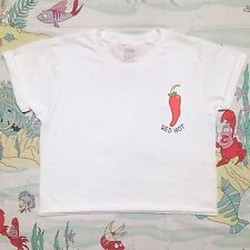Red Hot Chili Pepper White Crop Top Cute Tumblr Festival Concert Tee Shirt