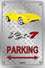 Parking Sign Metal Mazda RX7 Series 1 Yellow with Momo Rims - Checkerplate Look
