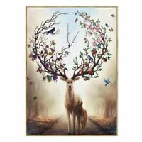 Wall Art Deer Stag with Long Antler Bloom and Bear Fruit Pictures Prints On C EL