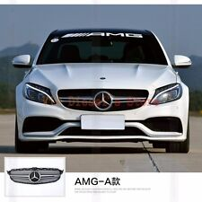 AMG C63 Style Front Grille Honeycomb Mesh Cover Trim Badge For Benz W205 2015-16