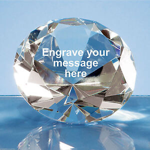 Large Crystal Clear Diamond Paperweight Engraved Personalised Birthday Good Luck