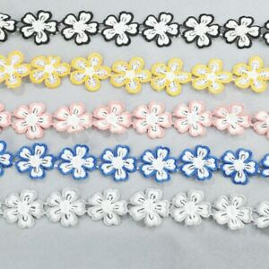 Ribbon Embroidery Flower Lace Trim Diy Craft Clothing Sewing Decoration 3Yards