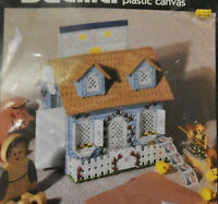"Vtg 1991 Bucilla Country Cottage Mail Center Plastic Canvas Kit 7"" High Cottage"