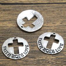 8pcs--FAITH HOPE LOVE charms,Antique Tibetan silver cross Pendants charms 23mm