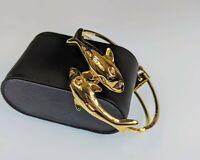 Lovely Vintage  Jewellery Gold-Tone hinged Cuff Bottlenose Dolphins bracelet