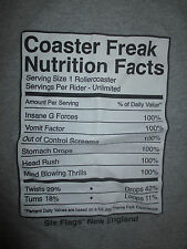Six Flags - New England COASTER FREAK NUTRITION FACTS Roller Coasters (MD) Shirt