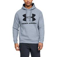 Under Armour Mens Rival Fleece Sportstyle Logo Hoodie - Grey Sports Gym