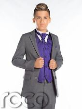 Boys Wedding Suit, Page Boy Suit, Boys Grey Suit, Grey Slim Fit Suit, Cravat