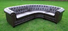 Dark Brown Bycast Leather Chesterfield Corner Group - 2+1 - Brand New - Boxed.