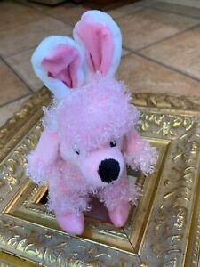 "DAN DEE PINK EASTER BUNNY RABBIT EARS POODLE DOG PUPPY 8"" STUFFED ANIMAL   LN"