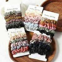 6 Pcs Women Girl Hair Scrunchies Elastics Hair Ties Scrunchy Bands Ties Ropes