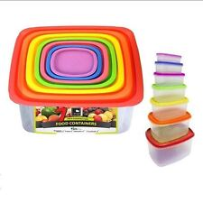 New BPA Free 7pcs Multicolour Square Food Grade Plastic Containers Store Meals