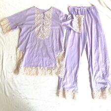 Vtg Nylon Lace Medium Lavender 2 Piece Pantsuit Pajamas Lingerie 60s 70s