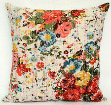 White Floral Print Pillow Cover Kantha Stitch Cotton Indian Cushion Case 16""