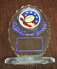 football insert trophy award clear blue and red
