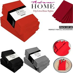 Table Napkins Linen Dinner Napkin Cloth Polycotton Hotel Wedding 18'' Pack of 12