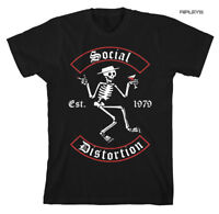 Official T Shirt SOCIAL DISTORTION Skeleton Est. 1979 'Banner Arch'