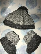 Handmade Crochet Baby  Hat/Booties Set Newborn 0-3 Months Gray Unisex