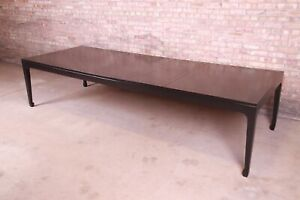 Michael Taylor for Baker Furniture Black Lacquered Chinoiserie Dining Table