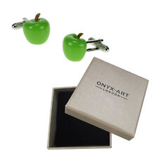 Mens Executive Cufflinks Green Apple By Onyx Art