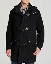 $695! NWT Cole Haan Mens Black Italian Plush Wool Cashmere Duffle Coat Jacket XL