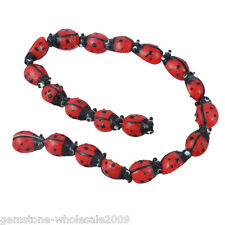 20PCS Wholesale W09 Lots Ladybug Lampwork Glass Spacer Beads Red 15x10mm GW