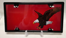 Flying Eagle on Red Plate  Novelty Airbrushed License Plate  W/ FREE BLACK FRAME