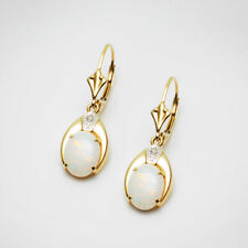 Oval 6x8mm Natural Opal Leverback Earrings 14k Yellow Gold Diamond,1.1""