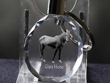Cheval de la Giara, porte-clés rond, en cristal, qualité, Crystal Animals FR
