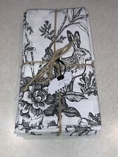 Bunny Hill Farms Black White Bunny Toile Cloth Napkins Set 4 New Easter Spring