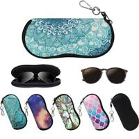 [2 Pack] Portable Neoprene Zipper Sunglasses Eyeglasses Soft Case with Carabiner