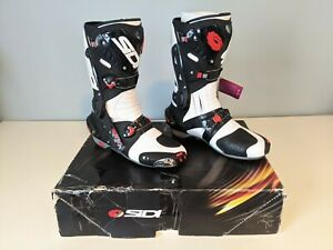 NEW - Sidi Vortice Street Track Motorcycle Boots Black/White - Size 10 US / 44 E