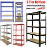 5 Tier Bays Metal Shelving Unit Storage Racking Shelves Garage Warehouse Shed UK