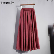 Women A-line Linen Cotton Skirt Long Bohemian Pleated Ethnic Maxi Casual Vintage