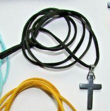 Green faux suade necklace hematite/gunmetal pendant cross