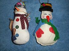 HANDMADE SNOWMEN ORNAMENTS STUFFED TEXTILE & LINEN HOLIDAY CHRISTMAS ORNAMENTS